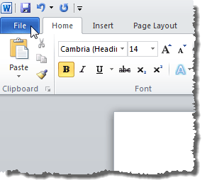 Clicking the File tab in Word 2010