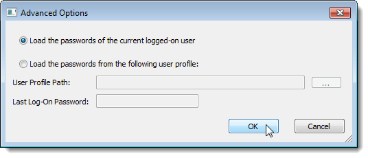 Advanced Options dialog box