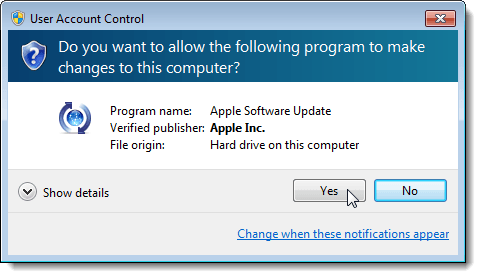 User Account Control dialog box displaying after clicking OK on Preferences dialog box