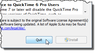 Closing the Apple Software Update dialog box