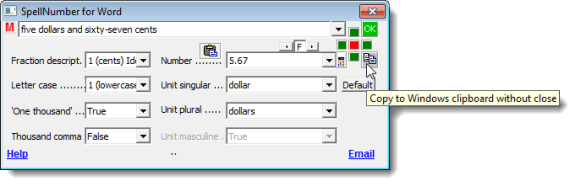 Copying the number without closing the dialog box