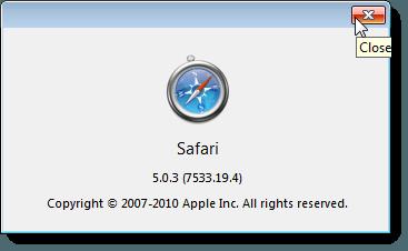 About Safari dialog box