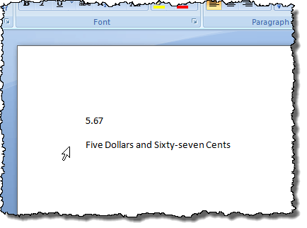 Spelled out number inserted into Word document