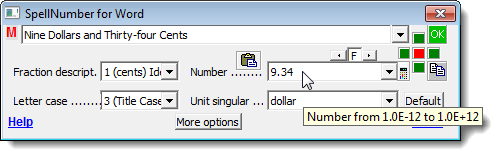 Inserting number directly on SpellNumber dialog box