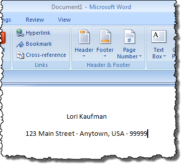 Example of a line of text with small bullets