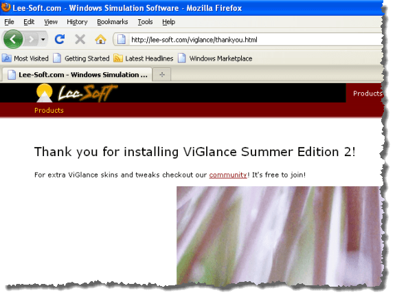 ViGlance Thank You web page