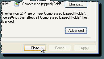 Closing the Folder Options dialog box