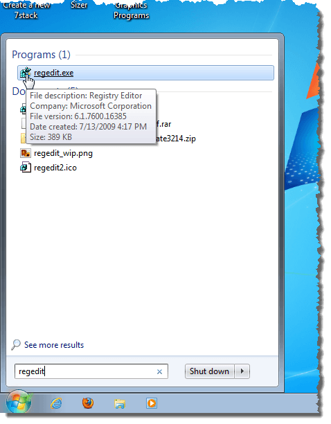 Searching for regedit in Windows 7