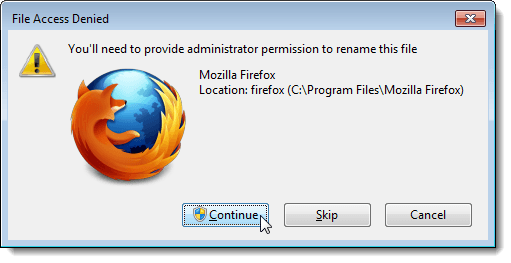 File Access Denied dialog box