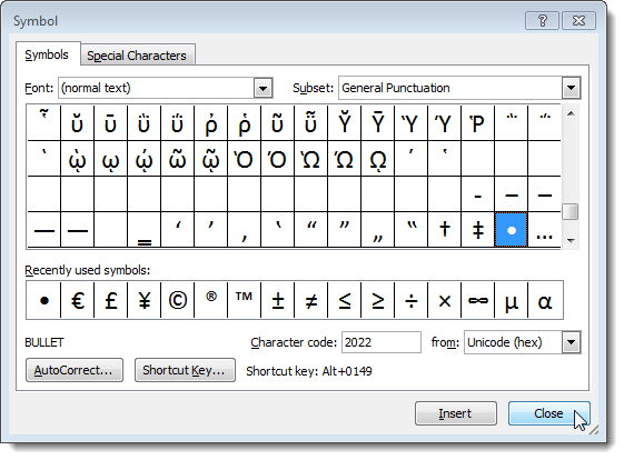 Closing the Symbol dialog box