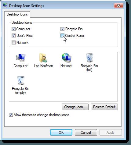 Desktop Icon Settings dialog box