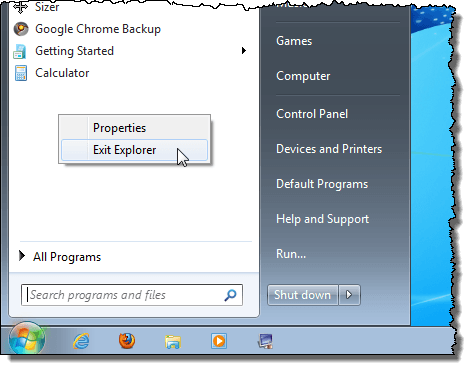 Accessing the Exit Explorer menu option in Windows 7