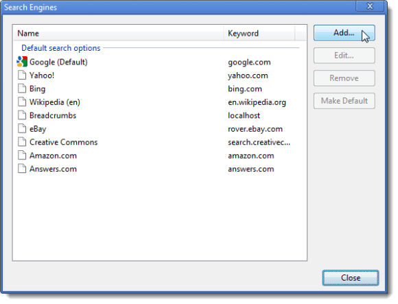 Clicking Add on Search Engines dialog box