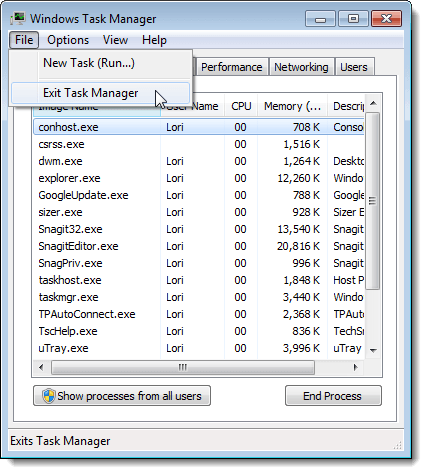 Closing Task Manager in Windows 7