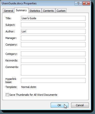 Summary tab on the Properties dialog box