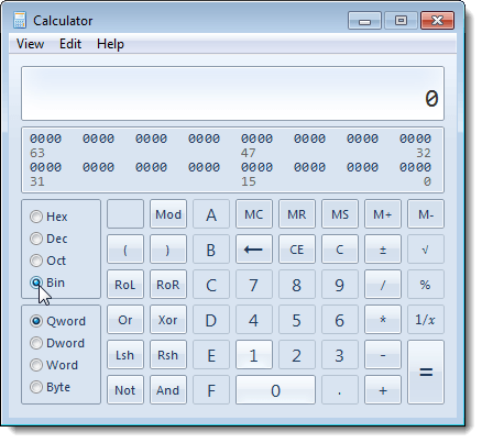 Selecting Binary mode on the calculator in Windows 7