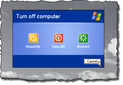 Pressing Ctrl + Shift + Alt and clicking Cancel in Windows XP