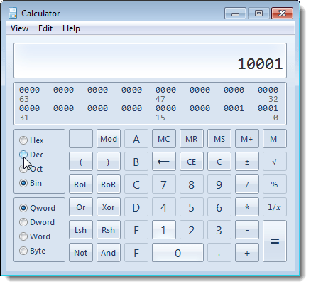 Entering a binary number in the calculator in Windows 7