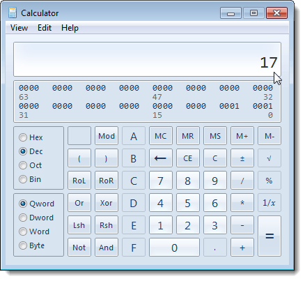 Decimal number calculated in Windows 7