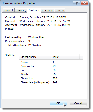 Properties dialog box in Word 2007