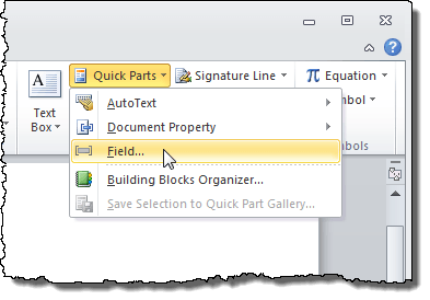 Selecting Field from the Quick Parts drop-down menu