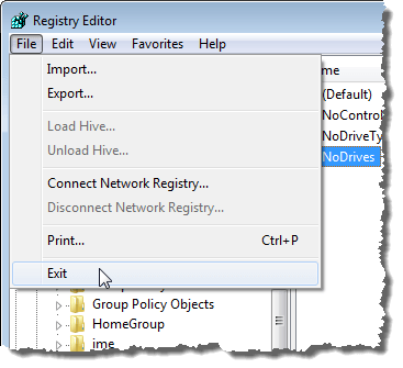 Closing the Registry Editor