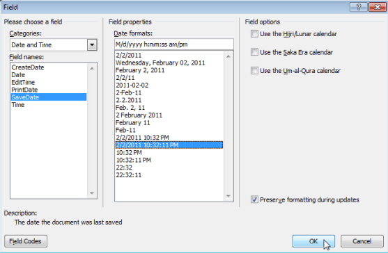 Viewing and Inserting the Date a Document was Last Modified in a