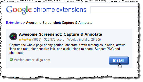 Clicking the Install button for Awesome Screenshot