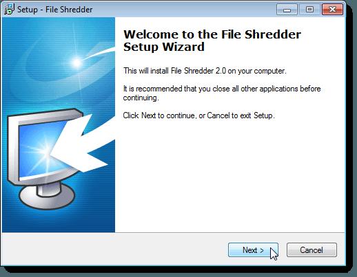 Setup Wizard Welcome screen