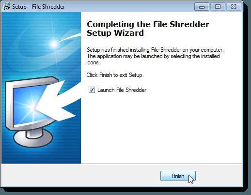 Completing the File Shredder Setup Wizard