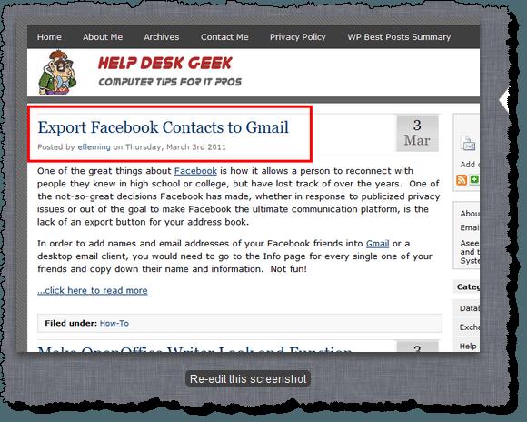 Screenshot displayed with Re-edit this screenshot button