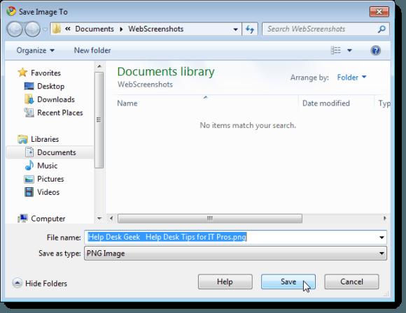 Save Image To dialog box