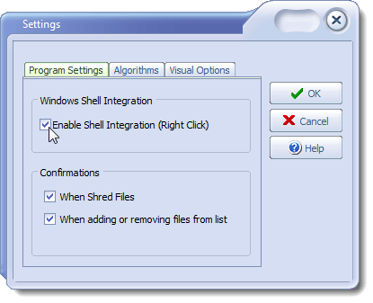 Settings dialog box - Program Settings tab