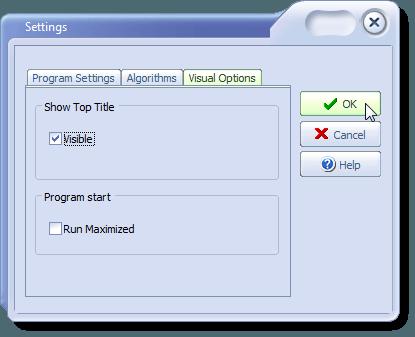 Settings dialog box - Visual Options tab
