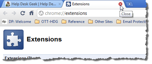 Closing the Extensions tab