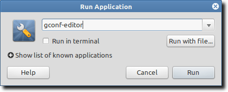 Launch gconf editor