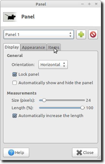 Panel Preferences Window
