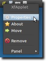 XFApplet Properties Menu