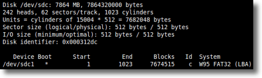 Fdisk command example output