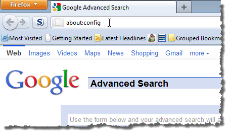 Entering about:config in the address bar