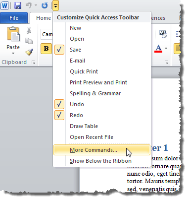 Selecting More Commands from the Quick Access Toolbar menu