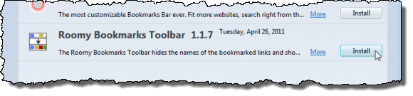 Clicking Install for Roomy Bookmarks Toolbar