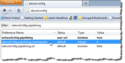 Double-clicking on network.http.pipelining.maxrequests preference