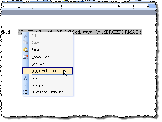 Selecting Toggle Field Codes in Word 2003