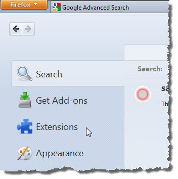 Clicking Extensions tab