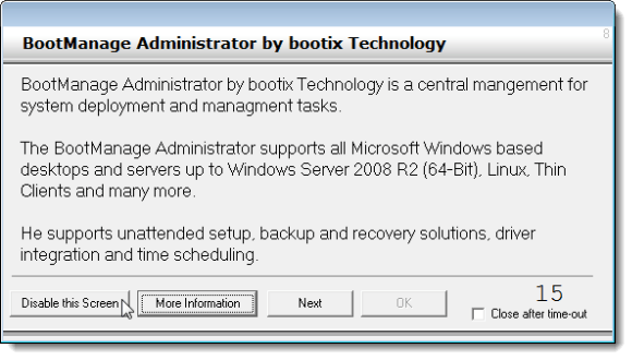 BootManage ad dialog box
