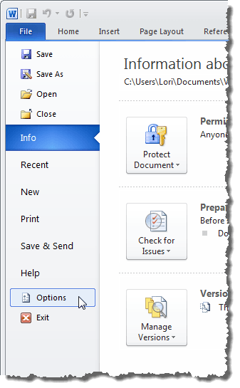 Clicking Options on the File tab in Word 2010