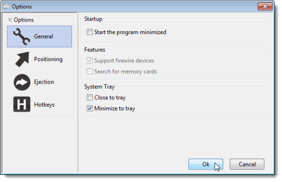 Options dialog box - General screen