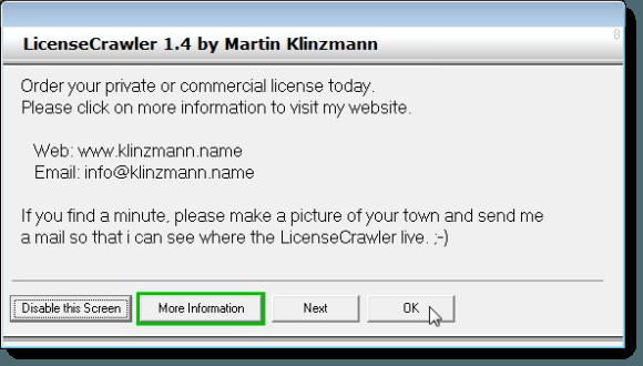 LicenseCrawler ad dialog box