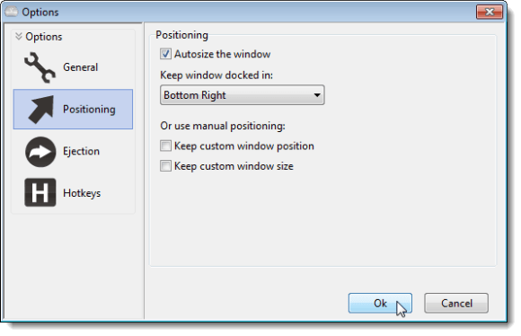 Options dialog box - Positioning screen